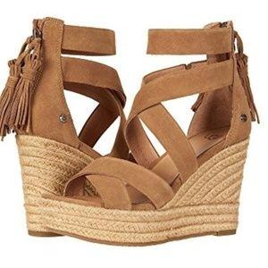 UGG Suede Fringe RAQUEL Platform Sandals 9.5